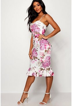 Womens Pink Floral Frill Hem Midi Dress