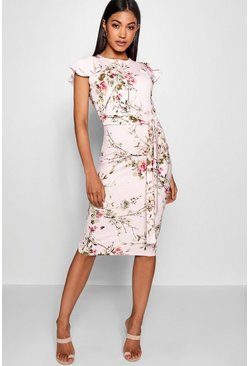 Womens Pink Floral Tie Waist Ruffle Detail Midi Dress