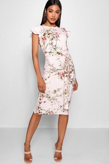 Pink Floral Tie Waist Ruffle Detail Midi Dress