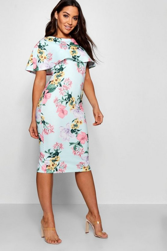 Annabel Cape Layer Floral Midi Dress