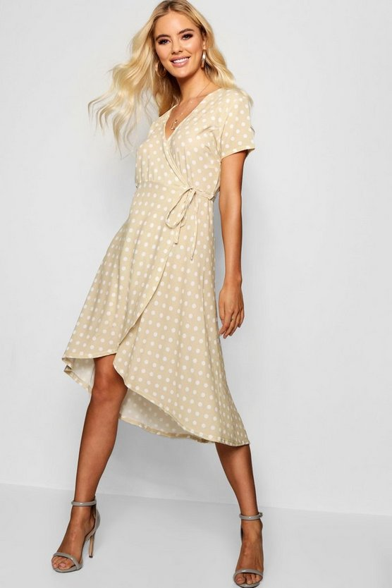 Francesca Polka Dot Wrap Midi Dress
