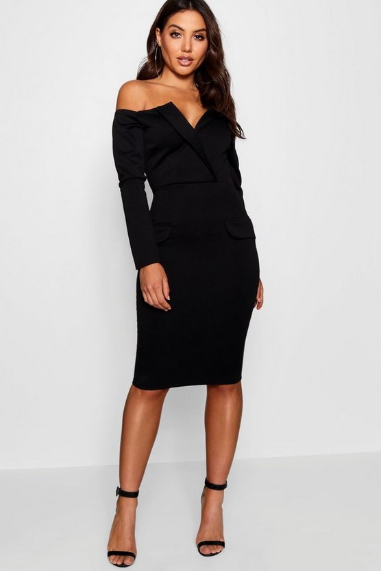 Womens Black Off the Shoulder Blazer Midi Dress