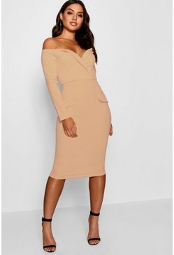 Womens Stone Off the Shoulder Blazer Midi Dress