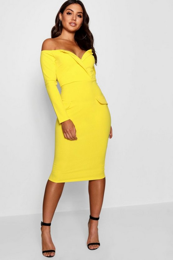 Off the Shoulder Blazer Midi Dress