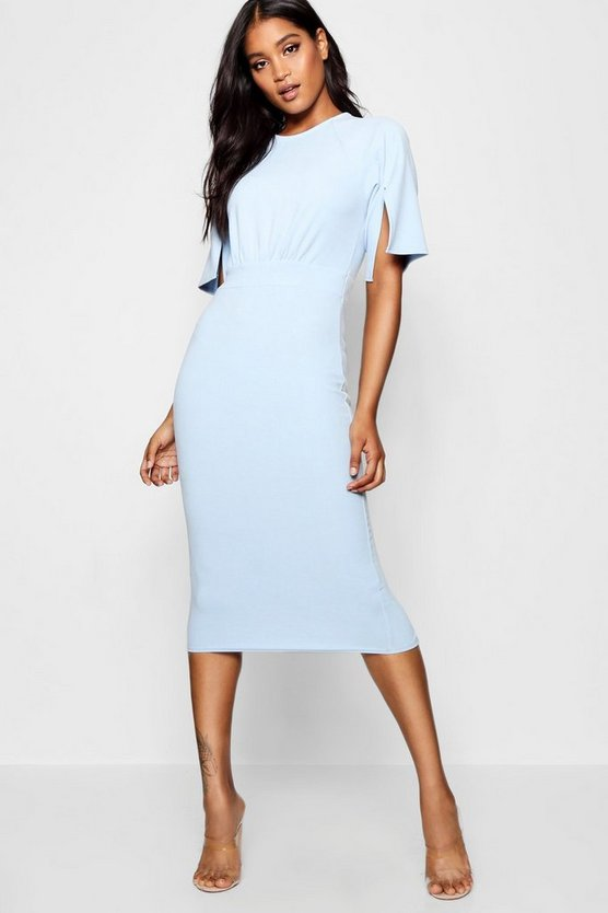 Split Sleeve Detail Wiggle Midi Dress