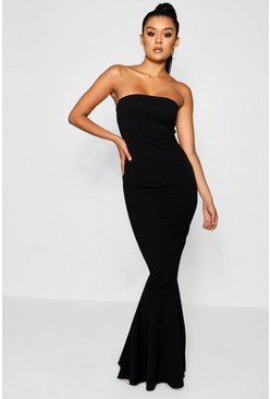 Black Bandeau Fitted Fishtail Maxi Bridesmaid Dress