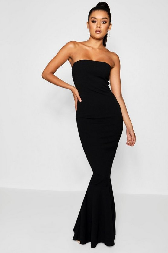 Womens Black Bandeau Fishtail Maxi Dress