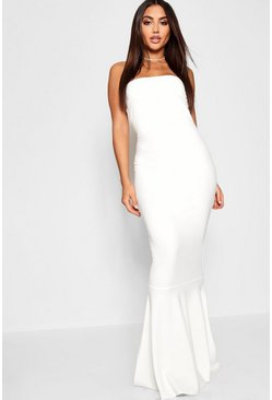 Ivory Bandeau Fitted Fishtail Maxi Bridesmaid Dress
