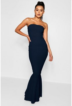 Navy Bandeau Fishtail Maxi Dress