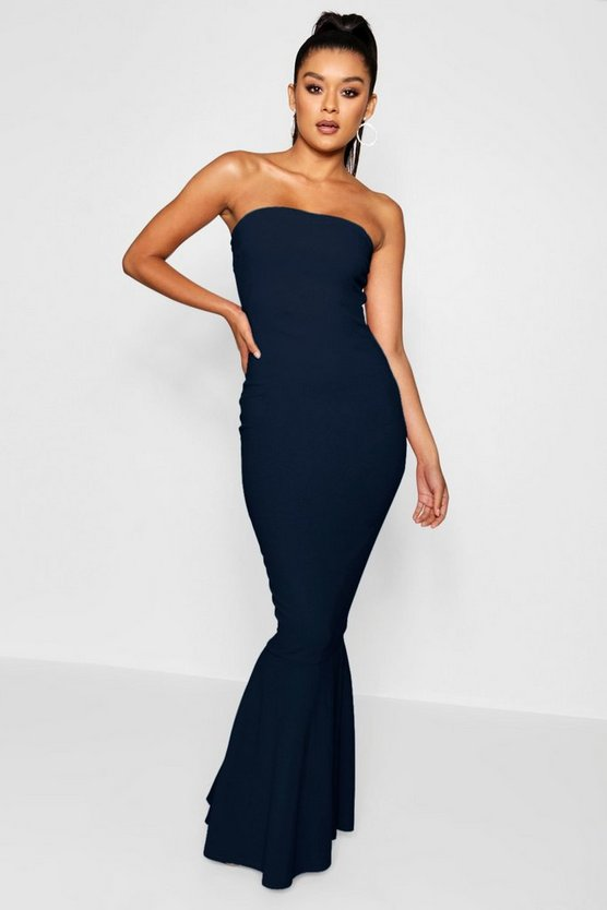 Womens Navy Bandeau Fishtail Maxi Dress