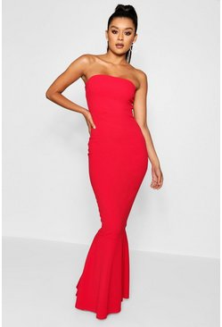 Red Bandeau Fitted Fishtail Maxi Bridesmaid Dress