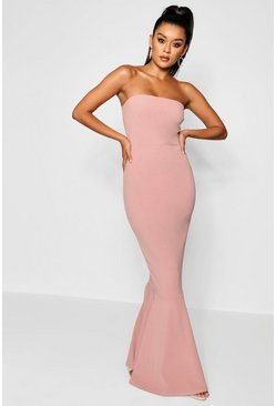Womens Rose Bandeau Fishtail Maxi Dress