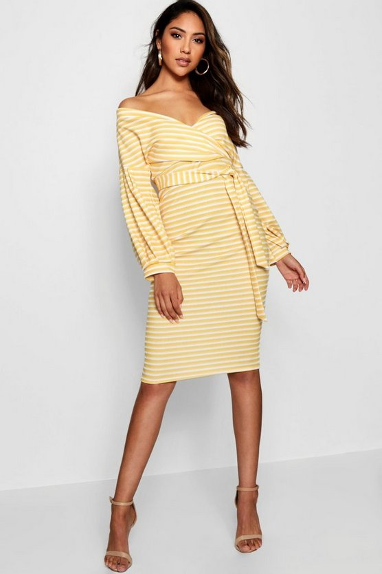 Womens Yellow Stripe Off the Shoulder Midi Dress