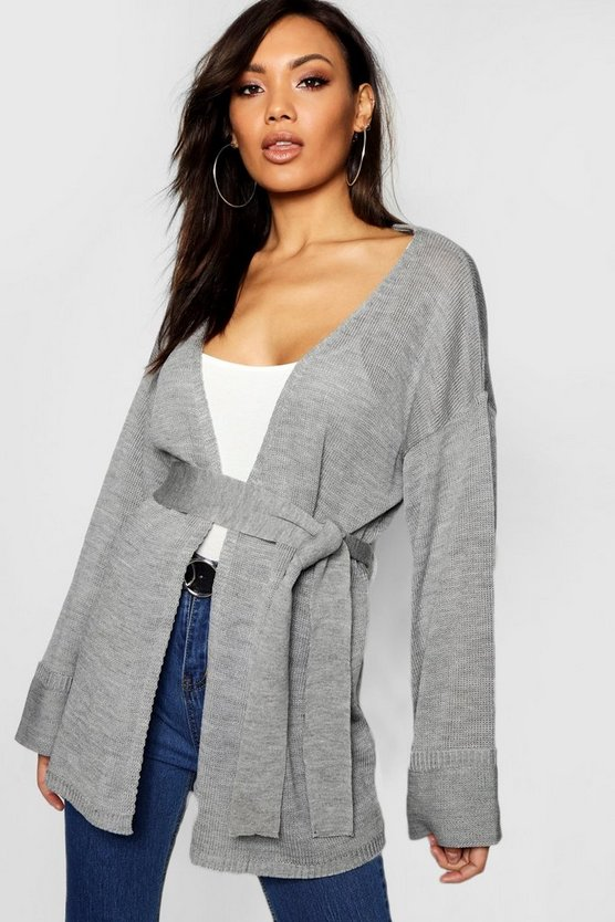 Womens Silver Turn Up Cuff Slouchy Cardigan