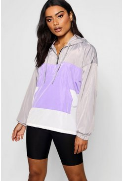 Womens Lilac Overhead Panelled Windbreaker
