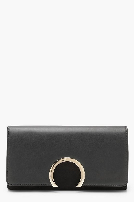 Circle Ring Detail Suedette & PU Clutch