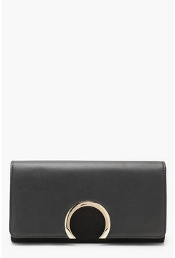 Womens Black Circle Ring Detail Suedette & PU Clutch