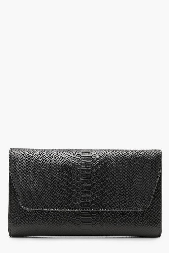 All Over Faux Snake Clutch With Chain