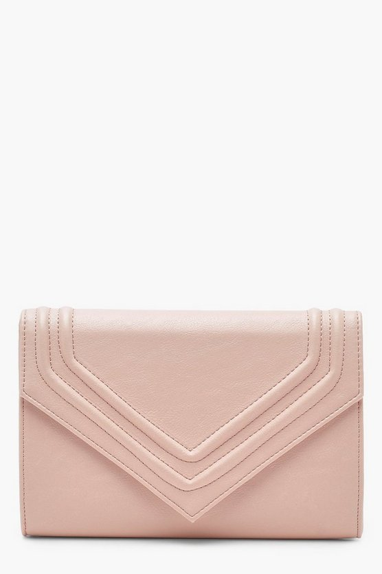 Embossed Envelope Clutch With Chain