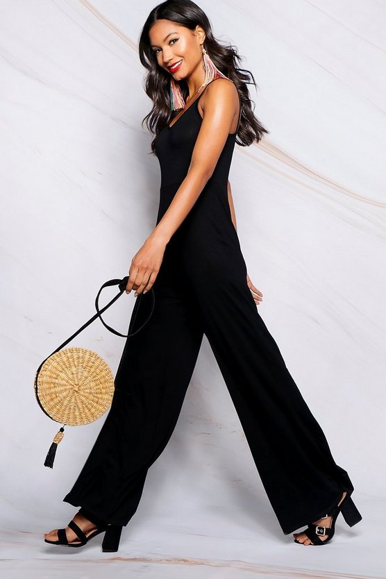 Womens Black Basic Wide Leg Jumpsuit