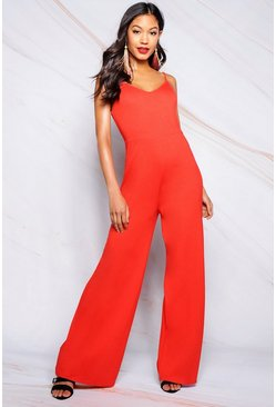 Womens Orange Basic Wide Leg Jumpsuit