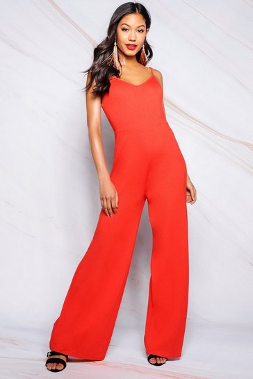Orange Basic Wide Leg Jumpsuit