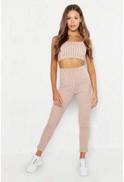 Stone Bandeau Pinstripe Trouser Co-ord Set