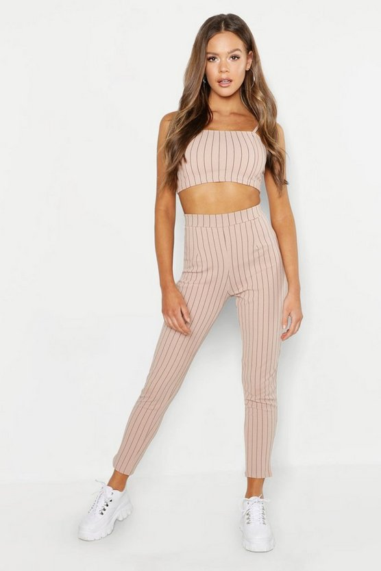 Womens Stone Bandeau Pinstripe Pants Co-Ord Set