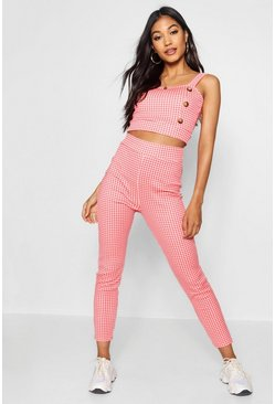 Womens Gingham Button Crop Top & Trouser Co-ord