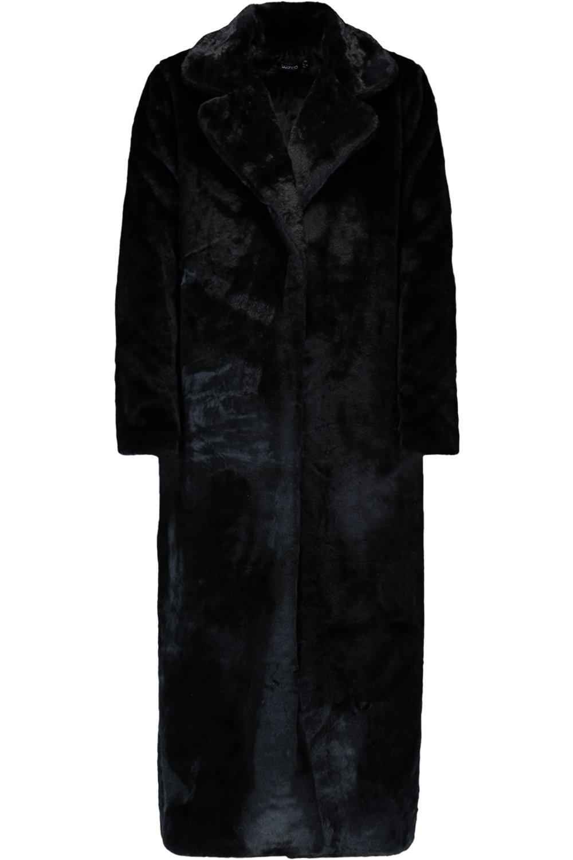 en maxi sintética Abrigo piel negro YdqzB