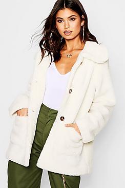 Women's 70s Shirts, Blouses, Hippie Tops Teddy Faux Fur Coat $90.00 AT vintagedancer.com