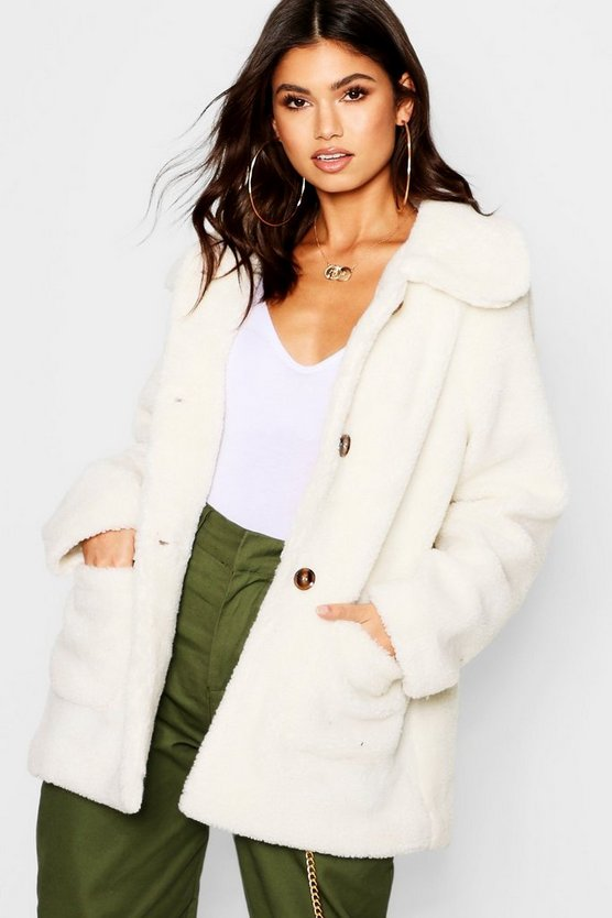 Womens Cream Teddy Faux Fur Coat