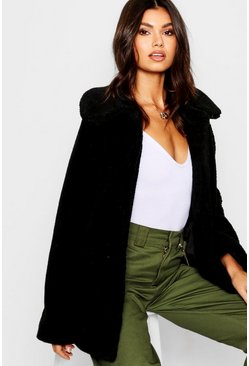 Womens Black Teddy Faux Fur Coat