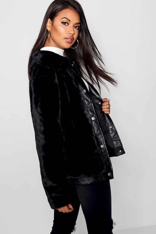 en sintético piel Abrigo de sintética cuero con adorno negro 7dHwqH0