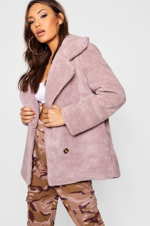 Zweireihiger Mantel aus Teddy Kunstpelz | Boohoo