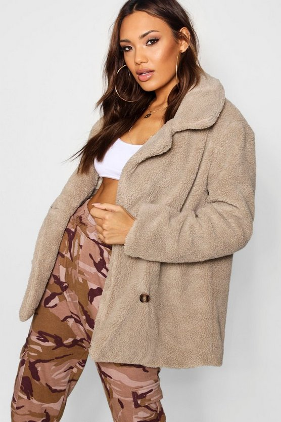 Womens Stone Double Breasted Teddy Faux Fur Coat