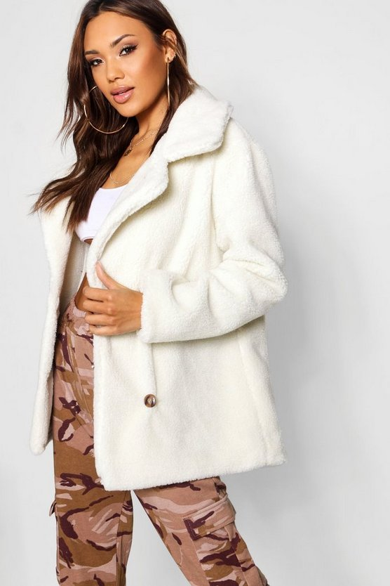 Womens Cream Double Breasted Teddy Faux Fur Coat
