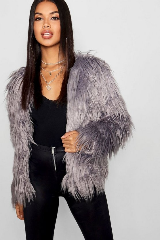Womens Grey Shaggy Faux Fur Coat
