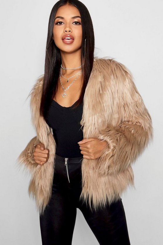 Womens Natural Shaggy Faux Fur Coat