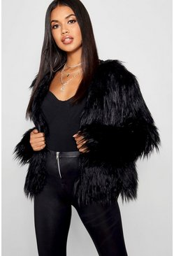 Womens Black Shaggy Faux Fur Coat