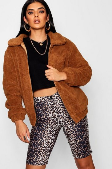 Womens Brown Oversized Teddy Faux Fur Bomber Jacket