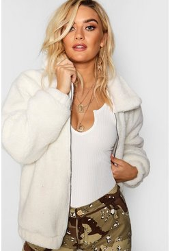 Cream Oversized Teddy Faux Fur Bomber Jacket