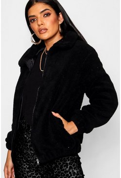 Black Teddy Faux Fur Bomber Jacket