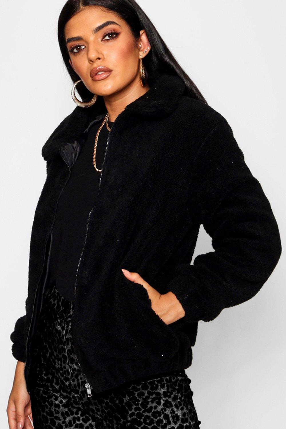 Teddy Faux Fur Bomber Jacket. Hover to zoom 9bc3ef836