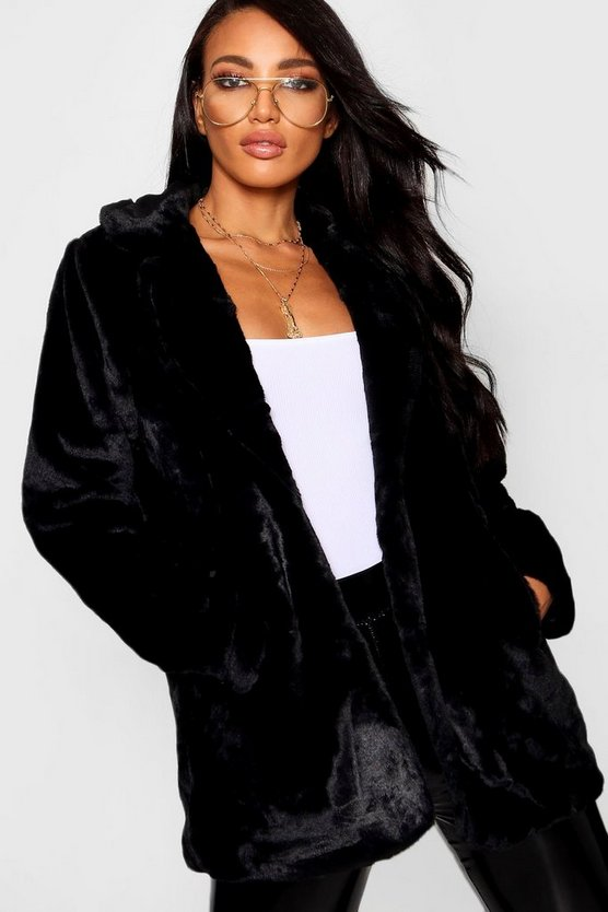 Womens Black Collared Faux Fur Coat