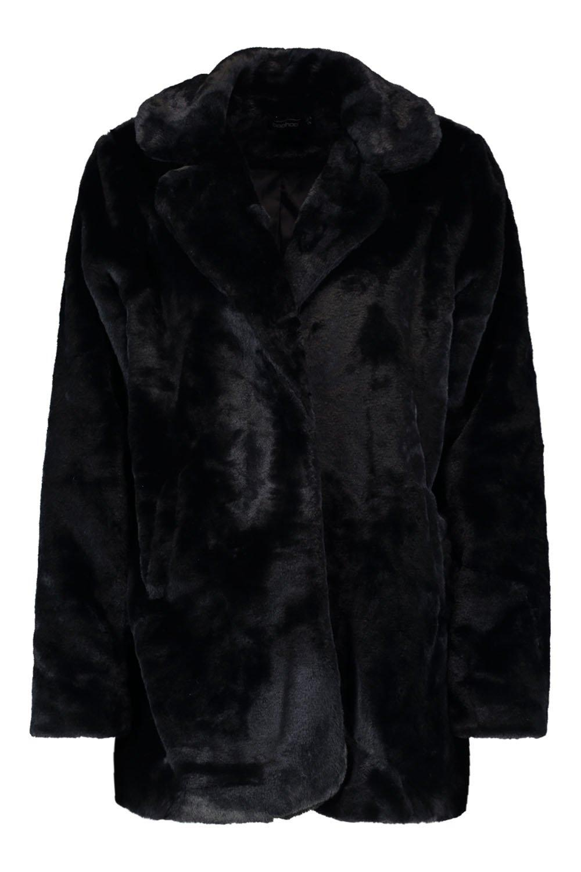 en cuello sintética con Abrigo piel negro dwqIpd