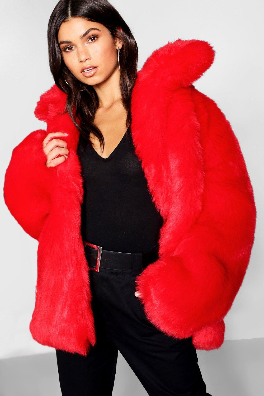 rojo con piezas sintética en Abrigo piel XwpqTSxOn6