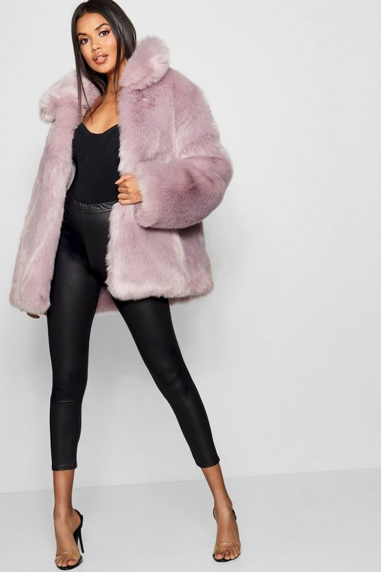 Womens Grey Collared Faux Fur Coat