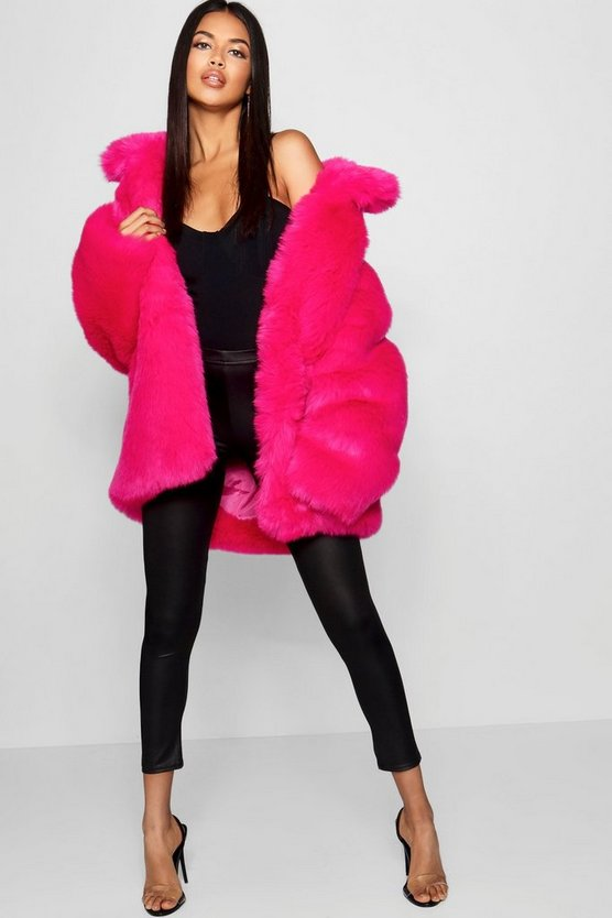 Womens Pink Collared Faux Fur Coat