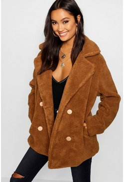 Womens Brown Double Breasted Teddy Faux Fur Coat